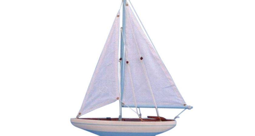 Buy Wooden Light Blue Pacific Sailer Model Sailboat