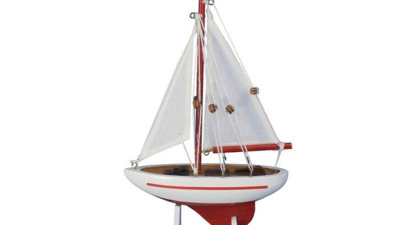 Buy Wooden Red Pacific Sailer Model Sailboat Decoration
