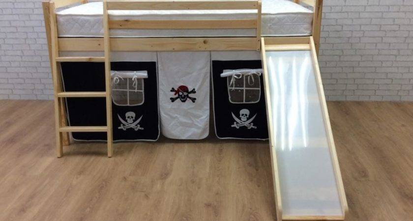 Cabin Bed Mid Sleeper Pine Slide Pirate Tent