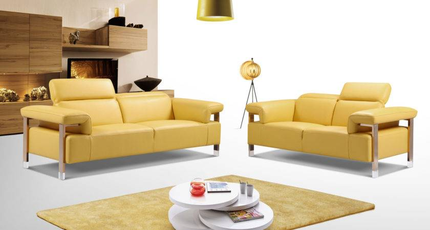 Canary Yellow Three Piece Top Grain Leather Living Room