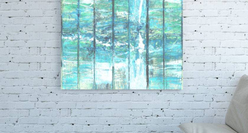 Canvas Print Pastel Teal Abstract Art Light Green Blue