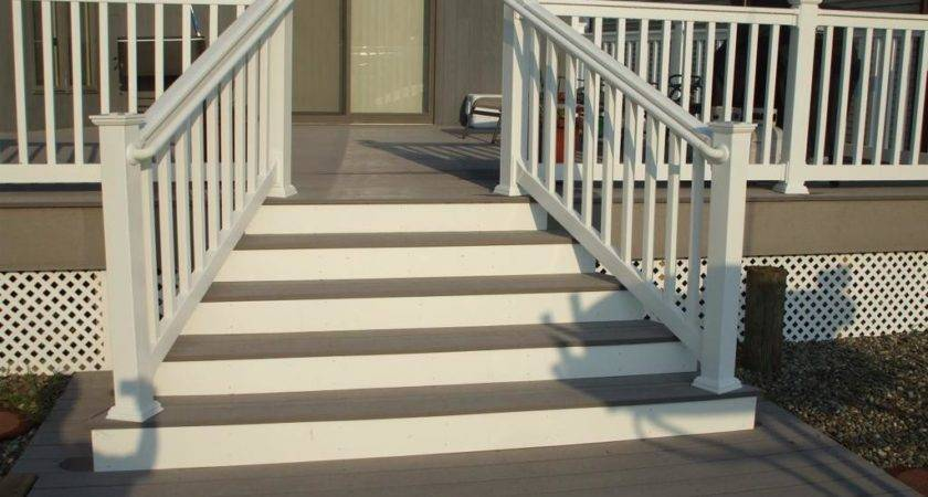 Captivating Front Porch Step Ideas Showing White Railing