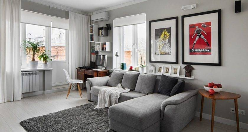 Captivating Living Room Grey Bed Sofa White