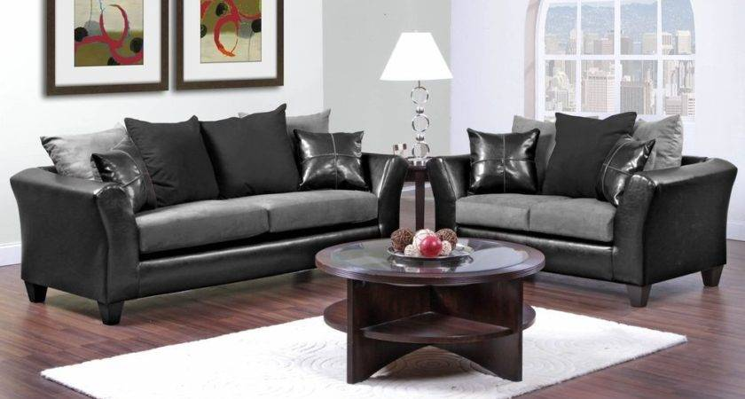 Casual Contemporary Black Gray Sofa Love Seat Living
