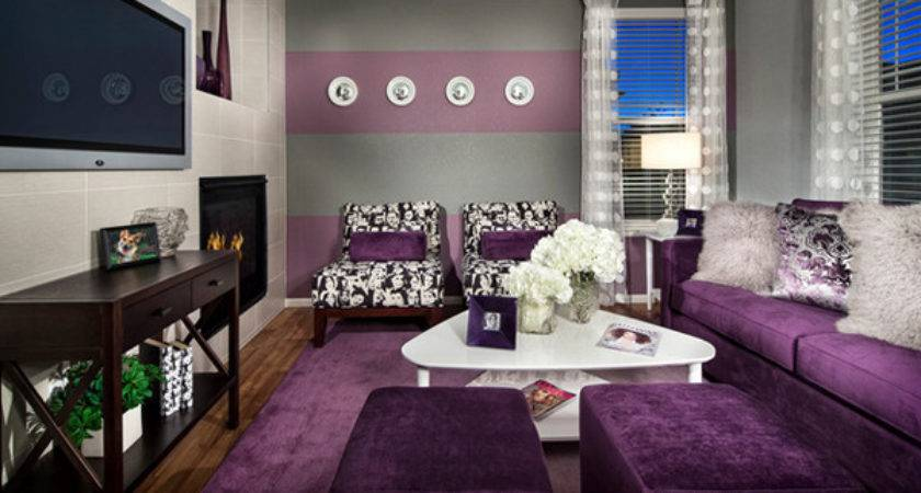 Catchy Living Room Designs Purple Accent