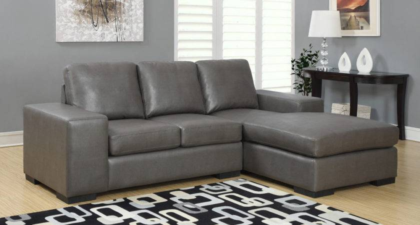 Charcoal Grey Bonded Leather Sectional Sofa Lounger Ebay