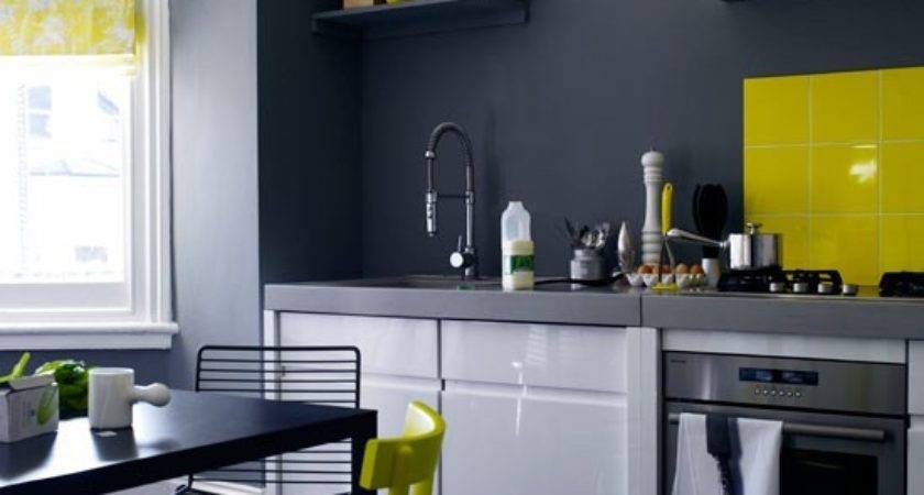 Charcoal Grey Kitchen White Gloss Units Yellow