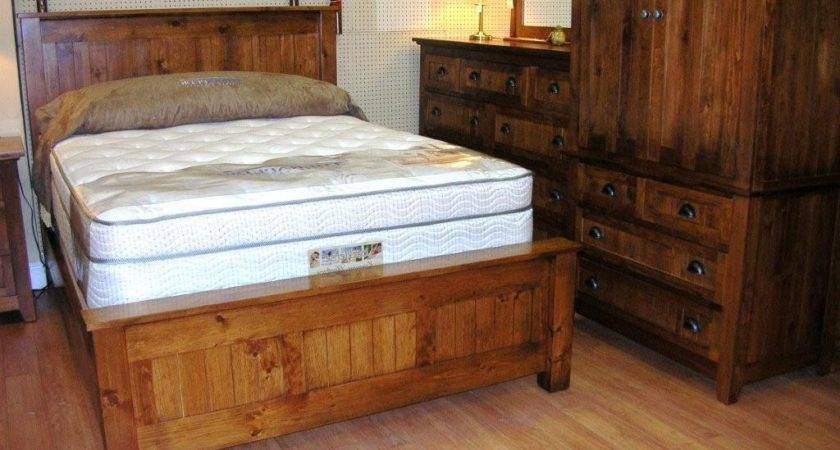 Cheap Rustic Bedroom Furniture Brown Stained Log Wood Bed
