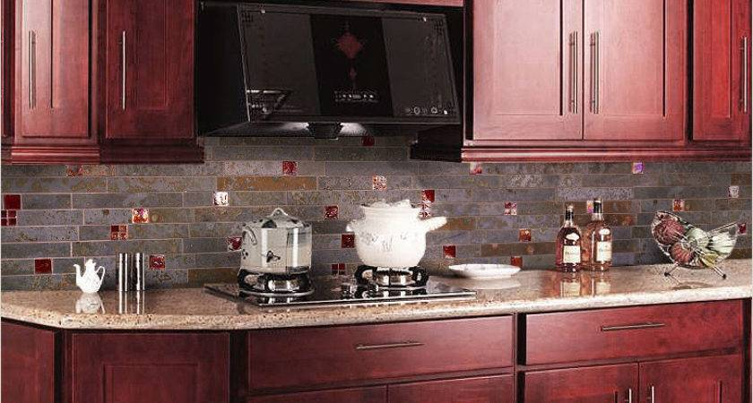 Cherry Kitchen Cabinets Granite Countertops Black