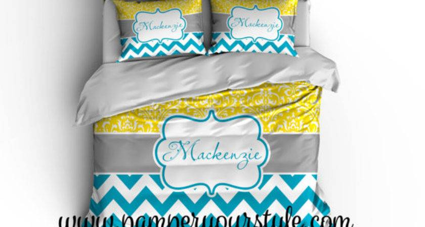 Chevron Damask Yellow Turquoise Bedding Duvet Cover