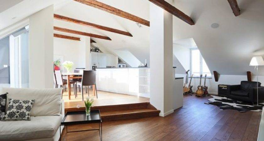 Chic Modern Attic Apartment Exposed Beams