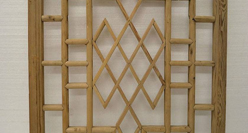 Chinese Antique Wood Carving Panel Window Shutter Wall Art