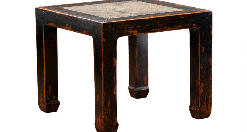Chinese Stone Top Side Table Mecox Gardens