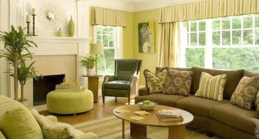 Chocolate Brown Green Living Room Home Design