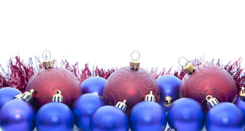 Christmas Border Red Blue Baubles Stockarch