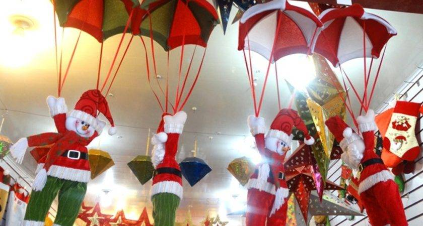 Christmas Home Ceiling Decorations Parachute Santa