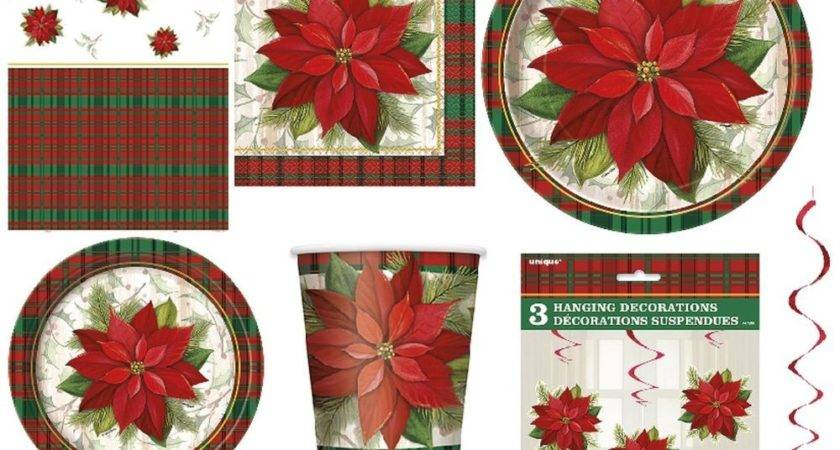 Christmas Poinsettia Plaid Xmas Party Tableware Range