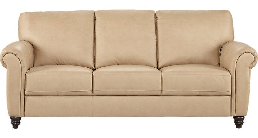 Cindy Crawford Home Lusso Taupe Leather Sofa
