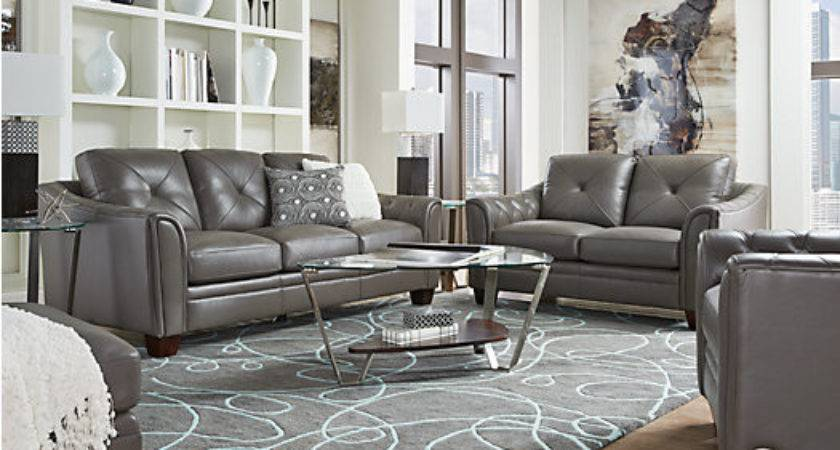 Cindy Crawford Home Marcella Gray Leather Living Room