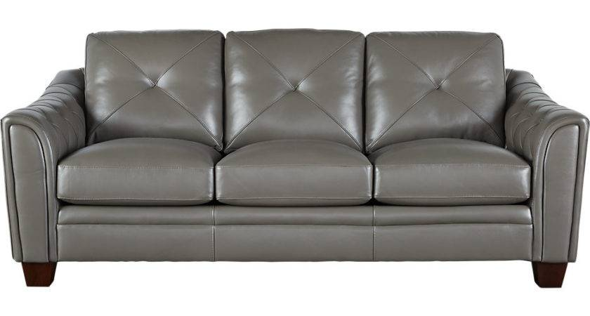 Cindy Crawford Home Marcella Gray Leather Sofa Sofas