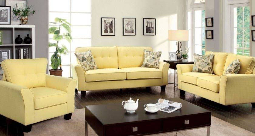 Claire Yellow Fabric Living Room Set Furniture