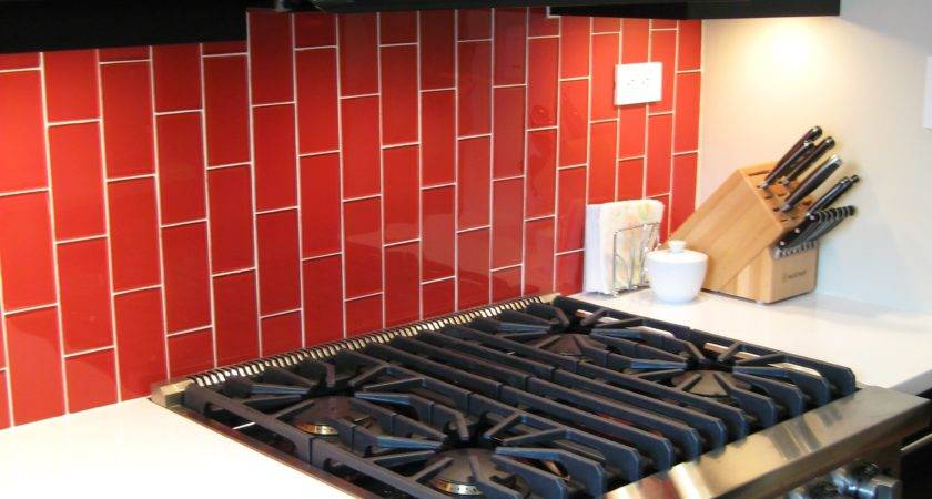 Classic Red Glass Subway Tile Cherry Modwalls Lush