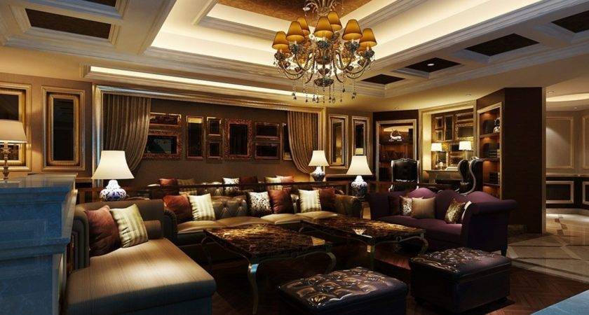 Classical Luxury Living Room Interior Design Rendering