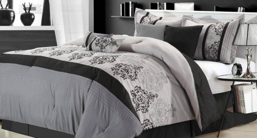Clearance Luxury Bedding Set Audrey Silver Black