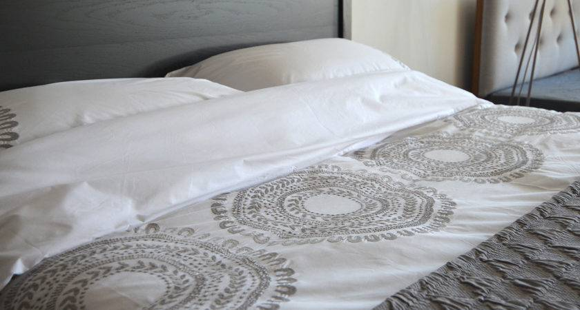 Cloud Grey Embroidered Cotton Bedding Natural Bed