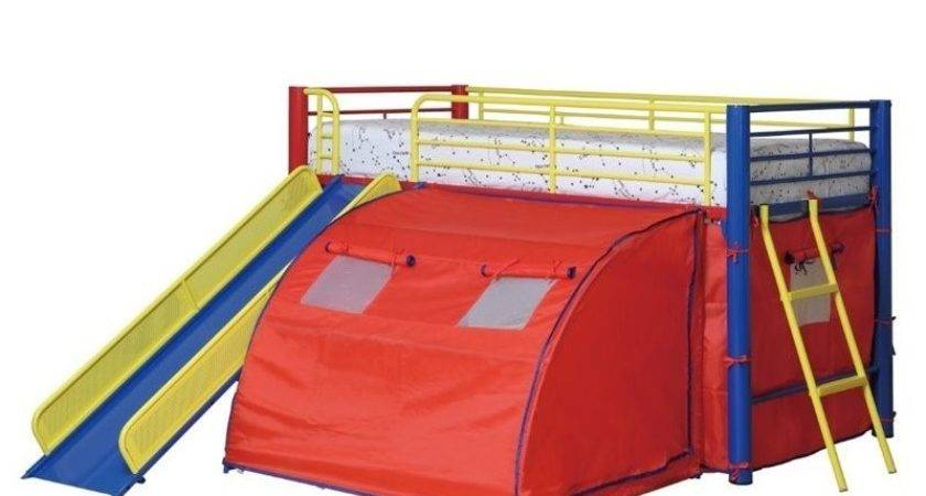 Coaster Kids Metal Twin Loft Bunk Bed Slide Tent