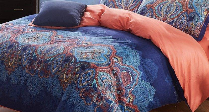 Cobalt Blue Coral Brown Indian Pattern Moroccan Themed