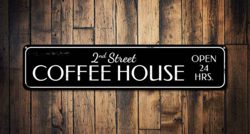 Coffee House Sign Personalized Open Hours Kitchen