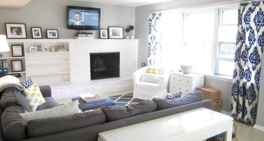 Color Curtains Gray Walls Brown Couch
