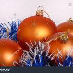 Colorful Orange Christmas Ball Decorations Blue Tinsel
