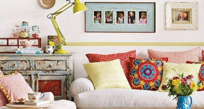Colourful Boho Chic Living Room Decorating