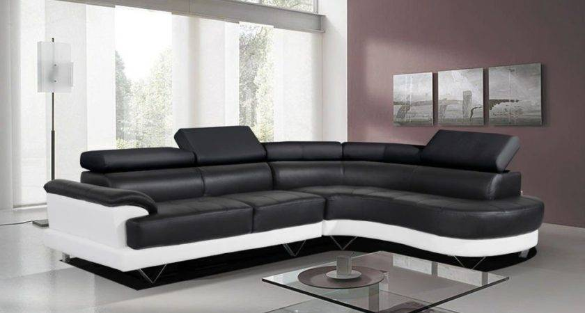 Comfort Black White Leather Sofa Eva Furniture