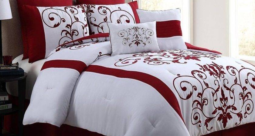 Comforter Set Red Piece Queen Luxurious Bedding Bed