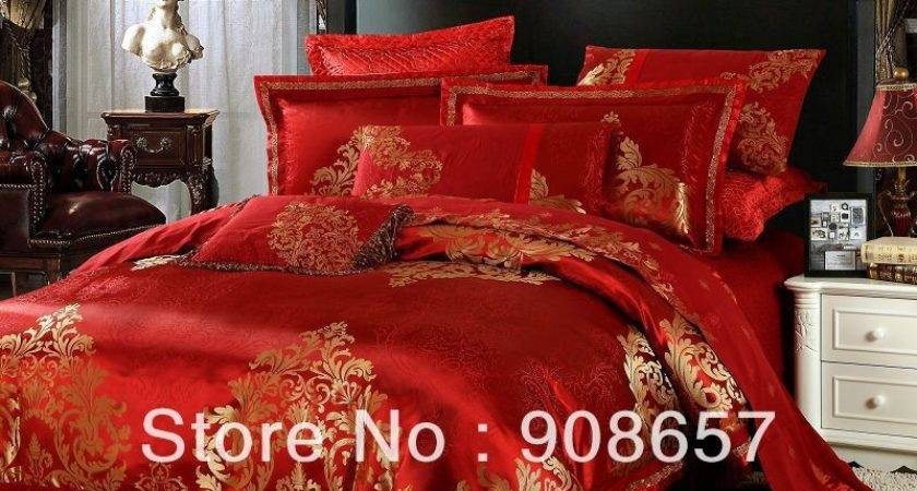 Compare Prices Red Gold Bedding Shopping Buy