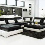 Contemporary Black White Leather Sofa Set Sleeper