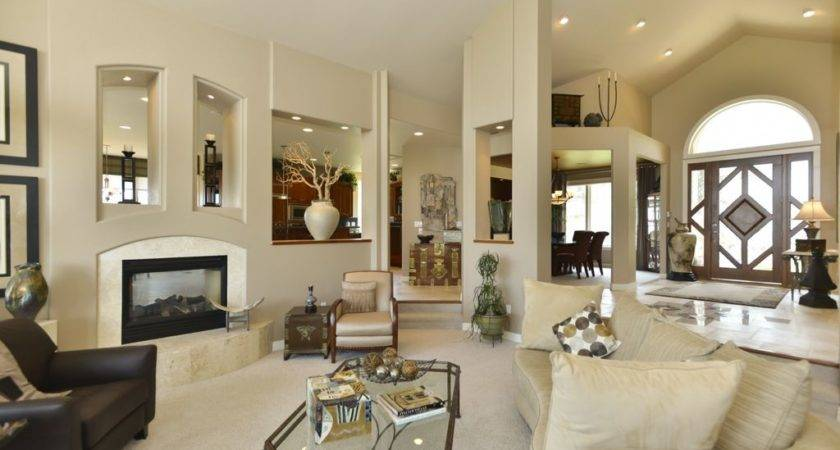 Contemporary Front Door Vaulted Ceiling Curved Sofa