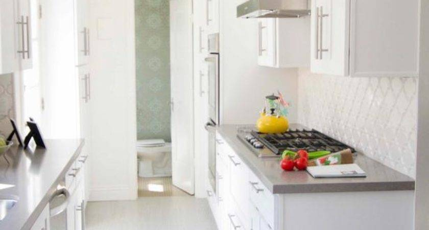 Contemporary Galley Kitchen White Cabinets