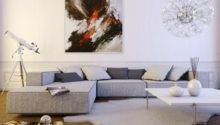 Contemporary Light Gray Shaped Sofa Interior Design Ideas