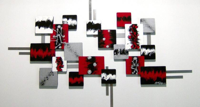 Contemporary Modern Red Black Silver Abstract
