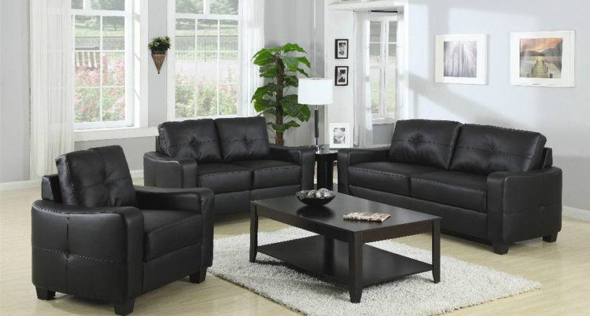 Contemporary Plush Black Leather Sofa Love Seat Amp Chair