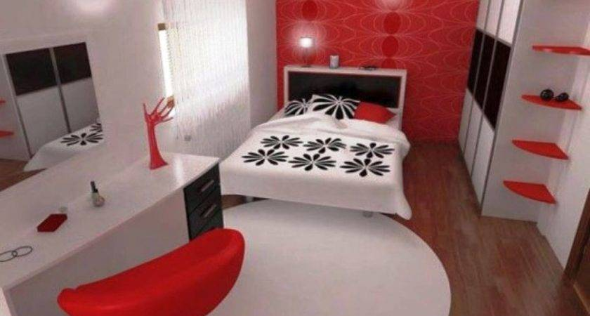 Contemporary Red Black White Bedroom Ideas