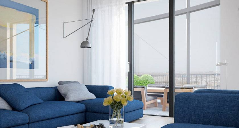 Cool Blue Apartment Bright Couches Solid White