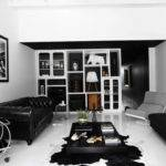 Cool Modern Living Room Attractive Fur Rug Idea