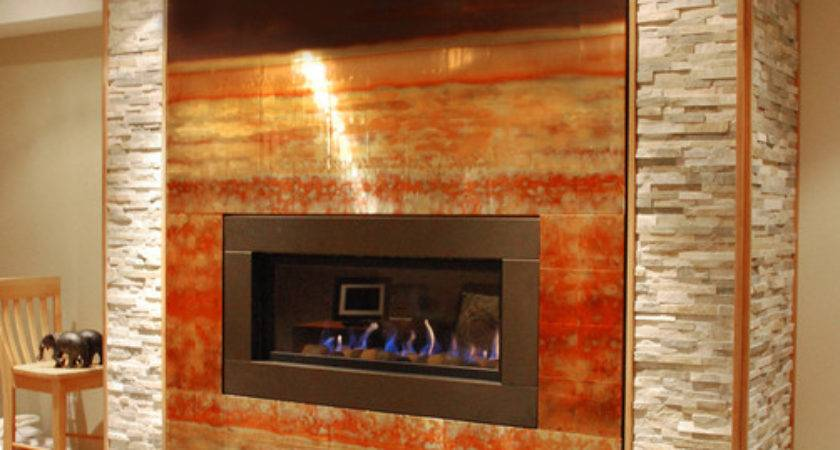 Copper Fireplace Feature Wall