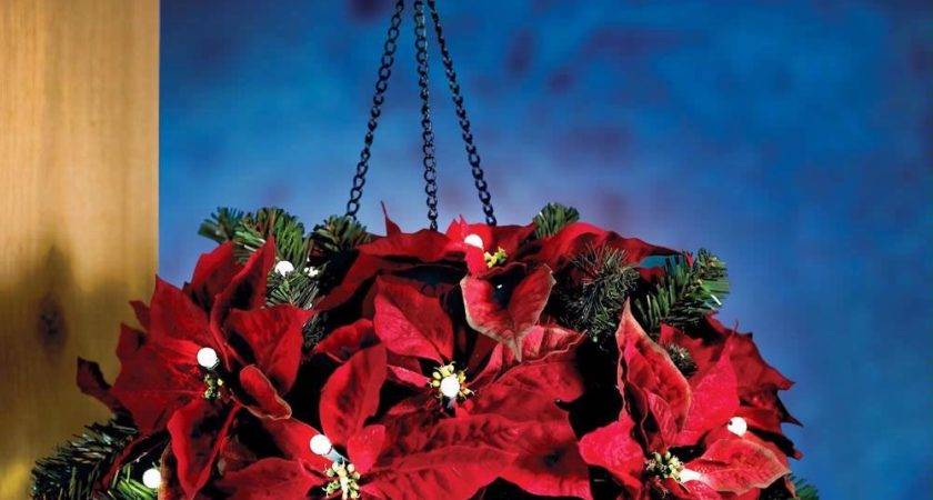 Cordless Hanging Holiday Poinsettia Basket Battery
