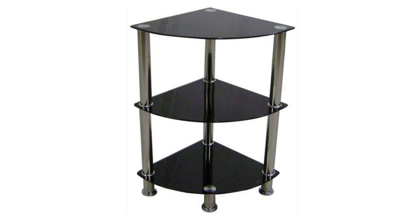 Corner Black Glass Stand Tier Homegenies